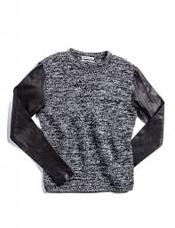 public school wool sweater with leather sleeve