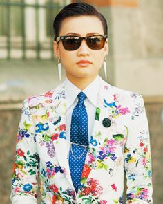 Esther Quek floral blazer and tie