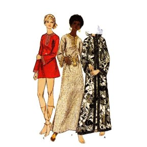 70's Butterick boho caftan dress pattern